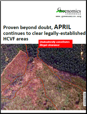APRIL continues to clear legally established HCVF areas